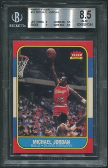 1986/87 Fleer Basketball #57 Michael Jordan Rookie BGS 8.5 (NM-MT+)
