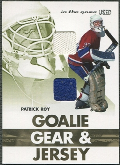 2003/04 ITG Used Signature Series #8 Patrick Roy Goalie Gear & Jersey Gold /10