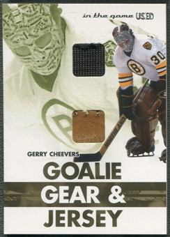 2003/04 ITG Used Signature Series #23 Gerry Cheevers Goalie Gear & Jersey Gold /10