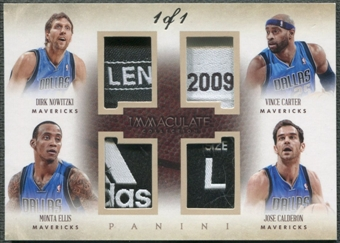 2013/14 Immaculate Collection #3 Vince Carter Dirk Nowitzki Jose Calderon Monta Ellis Quad Tag #1/1
