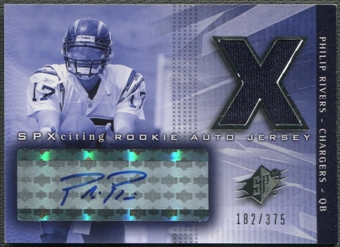 2004 SPx #218 Philip Rivers Rookie Jersey Auto #182/375