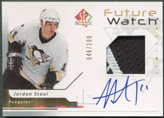 2006/07 SP Authentic #198 Jordan Staal Limited Rookie Patch Auto #046/100