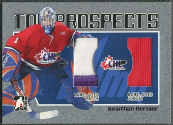 2006/07 ITG Heroes and Prospects #TP10 Jonathan Bernier CHL Top Prospects Jersey Patch /100