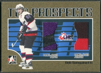 2006/07 ITG Heroes and Prospects #TP07 Bob Sanguinetti CHL Top Prospects Gold Jersey Patch /10
