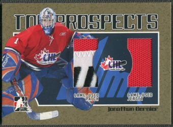 2006/07 ITG Heroes and Prospects #TP10 Jonathan Bernier CHL Top Prospects Gold Jersey Patch /10