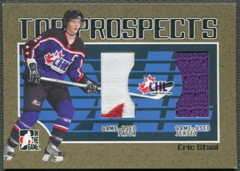 2006/07 ITG Heroes and Prospects #TP19 Eric Staal CHL Top Prospects Gold Jersey Patch /10