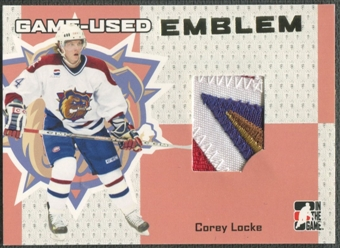 2006/07 ITG Heroes and Prospects #GUE09 Corey Locke Gold Game-Used Emblem /10