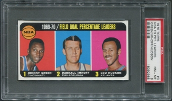 1970/71 Topps Basketball #3 Johnny Green Darrall Imhoff Lou Hudson League Leaders PSA 8 (NM-MT)