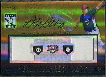 2010 Topps Tribute #SS Stephen Strasburg Rookie Gold Dual Base Auto #02/25