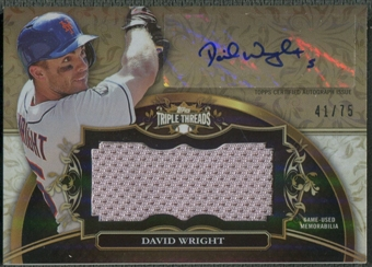 2013 Topps Triple Threads #DW David Wright Gold Unity Relic Jersey Auto #41/75