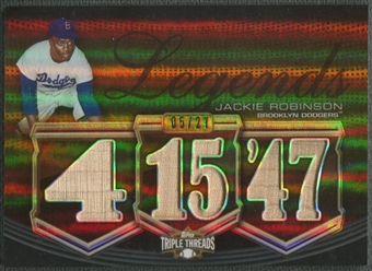 2010 Topps Triple Threads #RL24 Jackie Robinson Legend Relics Sepia Bat #05/27