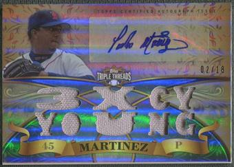 2013 Topps Triple Threads #PM1 Pedro Martinez Jersey Auto #02/18