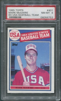 1985 Topps Baseball #401 Mark McGwire Rookie PSA 8 (NM-MT)