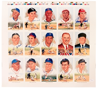 Perez Steele Uncut Sheet Autographed By 7 HOF's Including Aparicio, Banks, Bench, Berra