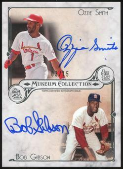 2014 Topps Museum Collection Dual Autographs #DDASG Bob Gibson Ozzie Smith 3/15