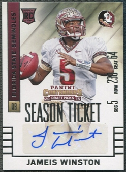 2015 Panini Contenders #122B Jameis Winston Draft Picks White Jersey Rookie Auto SP