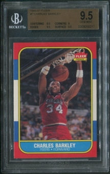 1986/87 Fleer Basketball #7 Charles Barkley Rookie BGS 9.5 (GEM MINT)