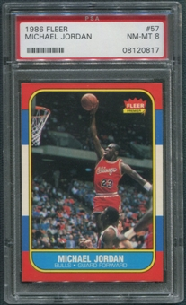 1986/87 Fleer Basketball #57 Michael Jordan Rookie PSA 8 (NM-MT) *0817