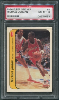 1986/87 Fleer Basketball #8 Michael Jordan Rookie Stickers PSA 8 (NM-MT)