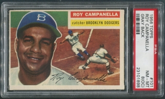 1956 Topps Baseball #101 Roy Campanella Gray Back PSA 8 (OC) (NM-MT)