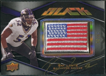 2009 UD Black #8 Ray Lewis Patch Flag Auto #24/25