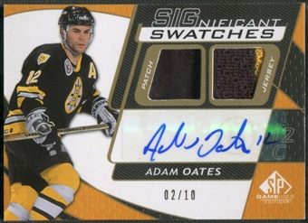 2008/09 SP Game Used #SSAO Adam Oates SIGnificant Swatches Patch Auto #02/10
