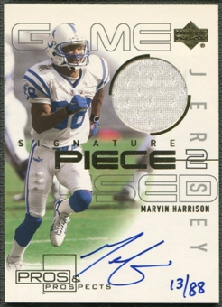 2000 Upper Deck Pros and Prospects #SPMH Marvin Harrison Gold Jersey Auto #13/88