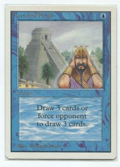 Magic the Gathering Unlimited Single Ancestral Recall - NEAR MINT / SLIGHT PLAY (NM/SP)