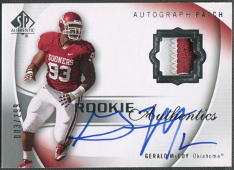 2010 SP Authentic #111 Gerald McCoy Rookie Patch Auto #003/299