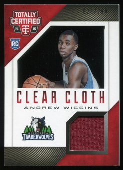 2014-15 Totally Certified Clear Cloth Jerseys Red #91 Andrew Wiggins Serial #26/299
