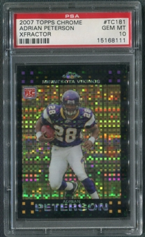 2007 Topps Chrome #TC181 Adrian Peterson Rookie Xfractor PSA 10