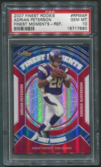 2007 Finest #AP Adrian Peterson Rookie Moments Refractor PSA 10 (GEM MINT)