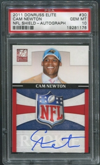 2011 Donruss Elite #30 Cam Newton Rookie NFL Shield Auto PSA 10 (GEM MINT)