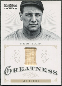 2012 Panini National Treasures #3 Lou Gehrig Greatness Materials Bat #53/99