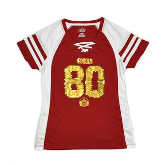 San Fransisco 49ers Jerry Rice Majestic Red HOF Draft Him VII V-Neck Tee Shirt (Womens L)