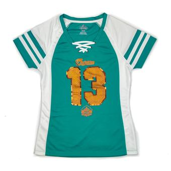 Miami Dolphins Dan Marino Majestic Aqua HOF Draft Him VII V-Neck Tee Shirt (Womens XL)