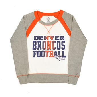 Denver Broncos Majestic Orange & Grey Counter IV Crew Fleece Sweatshirt (Womens S)