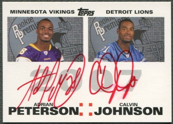 2007 Topps Rookie Premiere #PJ Adrian Peterson & Calvin Johnson Dual Red Ink Rookie Auto