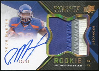 2012 Exquisite Collection Rookie Gold Holofoil #148 Doug Martin Rookie Autograph Patch 2/40