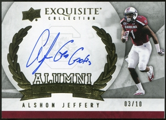 2012 Upper Deck Exquisite Collection Alumni Pride Autographs #APAJ Alshon Jeffery 3/10