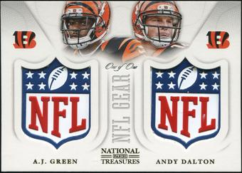 2013 Panini National Treasures NFL Gear Combo Player NFL Shields #5 A.J. Green Andy Dalton 1/1