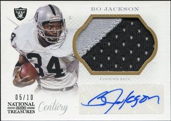 2013 Panini National Treasures Century Signature Materials Black #74 Bo Jackson 5/10