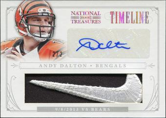 2013 Panini National Treasures Timeline Materials Signature Brand Logo #6 Andy Dalton 2/2