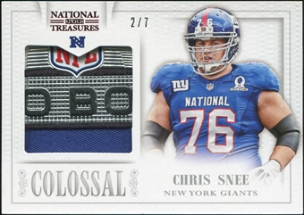 2013 Panini National Treasures Colossal Pro Bowl Materials Prime Patch Trophy Logo #25 Chris Snee 2/7