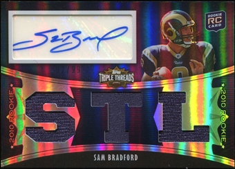 2010 Topps Triple Threads #101B Sam Bradford Rookie Autograph Jersey 92/99