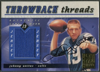 2000 Donruss Elite #TT9A Johnny Unitas Throwback Threads Jersey Auto #018/100
