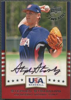 2008 Upper Deck Timeline #SS Stephen Strasburg Team USA Signatures Rookie Auto