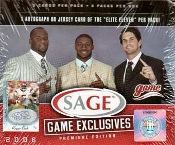 2006 Sage Game Exclusives Football Hobby Box