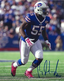 Jerry Hughes Autographed Buffalo Bills Blue Jersey 8x10 Photo