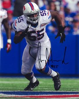 Jerry Hughes Autographed Buffalo Bills White Jersey 8x10 Photo